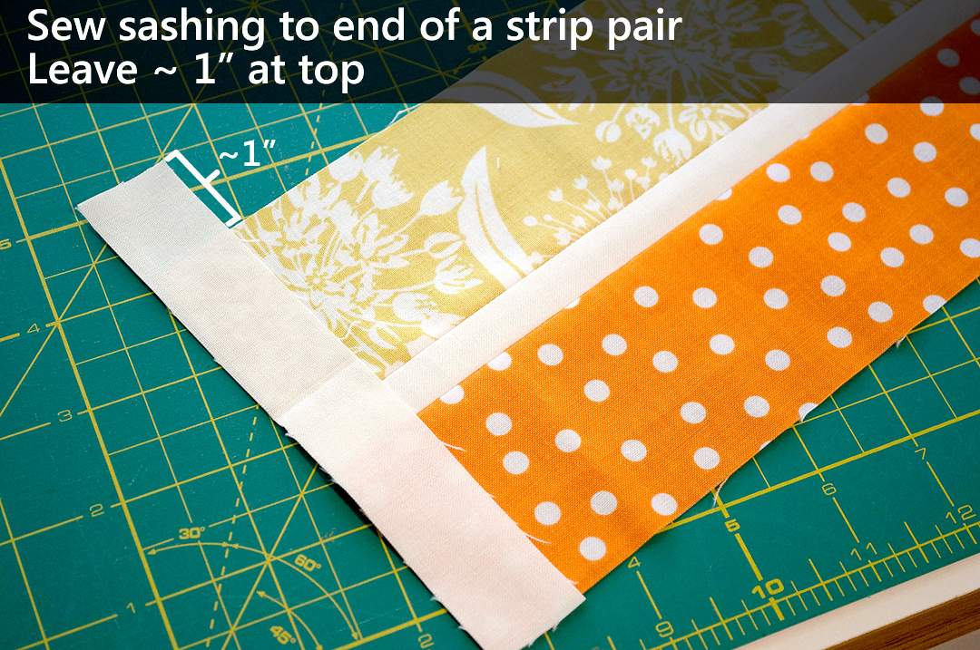 """Add sashing to the left end of the pair of strips, leaving ~1"""" at the top end."""